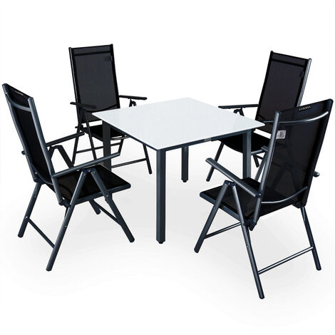 Casaria 4+1 Conjunto de mesa y sillas plegables de aluminio mesa 90x90cm vidrio esmerilado muebles de jardín Set terraza