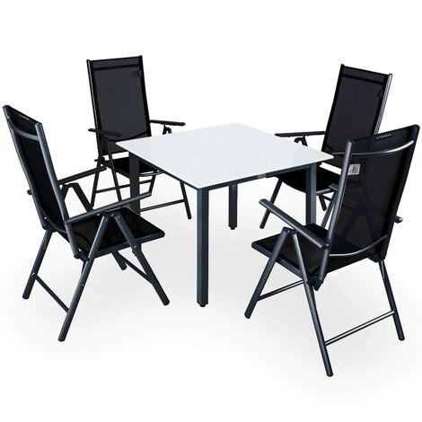 """main image of """"Casaria 4+1 Conjunto de mesa y sillas plegables de aluminio mesa 90x90cm vidrio esmerilado muebles de jardín Set terraza"""""""