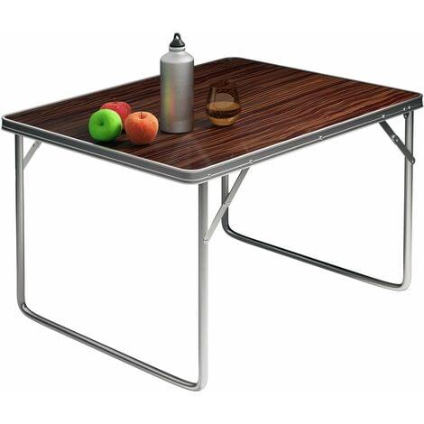 Casaria Alu Campingtisch klappbar 80x60cm Tragegriff leicht Holz Optik Klapptisch Falttisch Koffertisch Campingmöbel