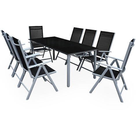 """main image of """"Deuba Table Chairs Set Garden Patio Modern Outdoor Dining Furniture Bern Aluminum Frame Glass Table Top 8 Seater Reclining Folding Silver Anthracite"""""""