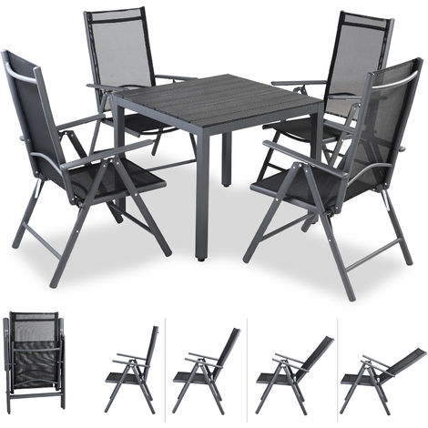 Casaria Aluminium Garden Dining Table and Chairs Set 4 Seater Outdoor Patio Furniture