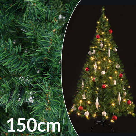 Casaria Árbol de navidad artificial Verde 150 cm 310 puntas con soporte y cadena de luces de 100 LED decoración interior