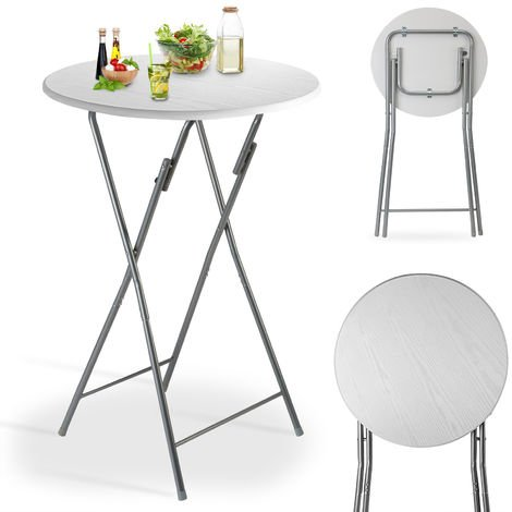 Casaria Bar Table Bistro Foldable White Ø60cm Metal & MDF Wooden Design Folding