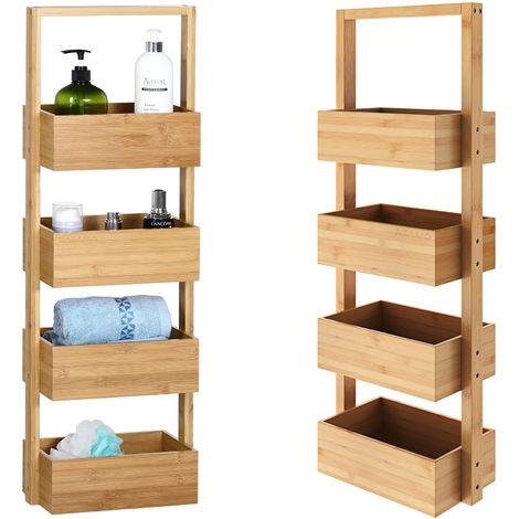 Casaria Bathroom Freestanding Bamboo 4 Tier 88x16x28 cm Wooden Kitchen Storage Rack Basket Bath Shelves Narrow