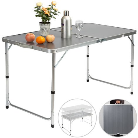 Casaria Camping Table Folding Aluminum Carry Handle Grey White 120x60x70cm