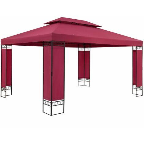 Casaria Carpa de jardín ELDA cenador exterior 3x4m gazebo repelente al agua para fiestas eventos - color a elegir Rojo - Rojo