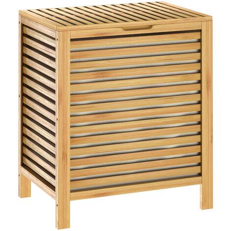 Casaria Cesto para la ropa sucia de Bambú 62L Mueble de baño para guardar la colada 51x36x61cm 2x