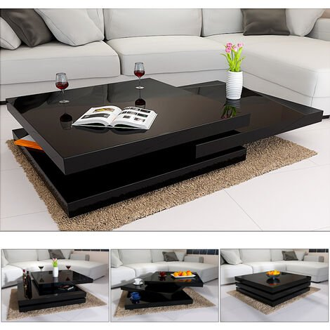 """main image of """"Casaria Coffee Table New York High Gloss 360 ° Rotatable Square Modern Cube Design Living Room Side Sofa End Tea Tables Black - 60cm"""""""