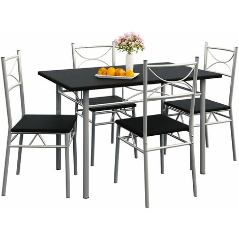 """Casaria Conjunto de 1 mesa y 4 sillas """"Paul"""" muebles de cocina y de comedor Roble mesa de MDF resistente 110x70 cm"""