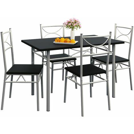 """main image of """"Casaria Conjunto de 1 mesa y 4 sillas """"Paul"""" muebles de cocina y de comedor Roble mesa de MDF resistente 110x70 cm"""""""