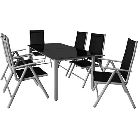 Casaria Conjunto de 1 Mesa y 6 sillas de Aluminio Bern con respaldo reclinable Muebles de jardín patio terraza balcón
