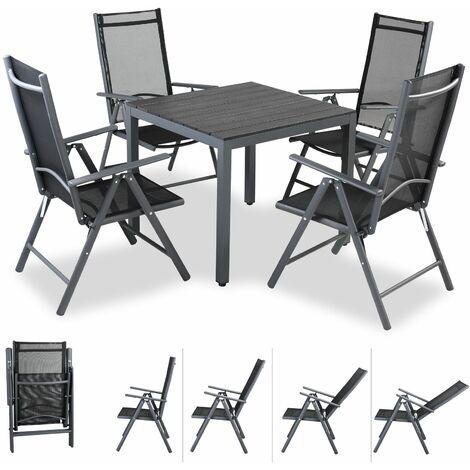 Casaria Conjunto de aluminio Bern Negro juego de 4 sillas y 1 mesa muebles comedor exterior interior
