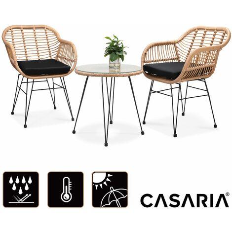 Casaria Conjunto de jardín 3 piezas juego de 1 mesa y 2 sillas de mimbre para interior exterior jardín balcón terraza