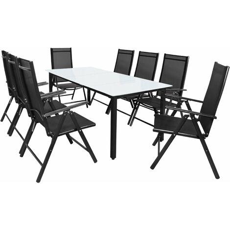 Casaria Conjunto de muebles 8+1 aluminio Bern Sillas plegables y mesa 190x90 jardín terraza balcón Patio interior exterior
