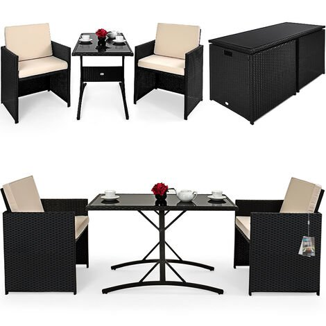 Casaria Conjunto de muebles para balcón Cube de Poliratán 1 mesa 2 sillas 4 cojines compacto jardín terraza patio