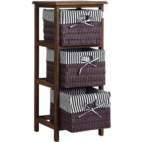 Casaria Estante con 3 cestas de poliratán y estructura de madera de Paulownia mueble de almacenamiento - color a elegir