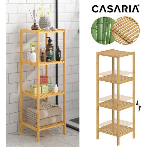Casaria Estantería de Bambú 4 o 5 estantes almacenaje Interior 110/140x33x33cm Marrón para cocina baño librería zapatero