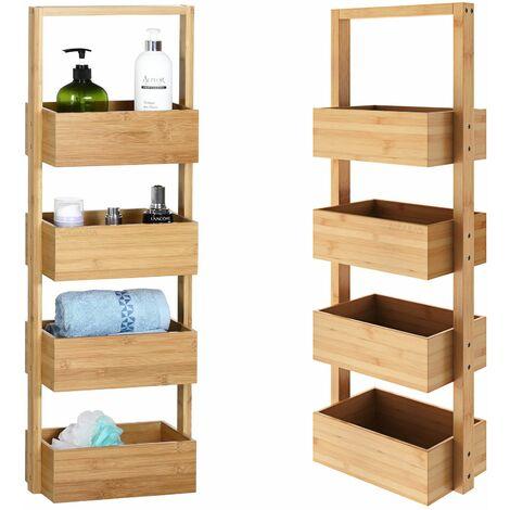 """main image of """"Casaria Estantería de baño de bambú 4 estantes 88x16x28 carga máx. 20Kg mueble para cocina baño almacenamiento interior"""""""