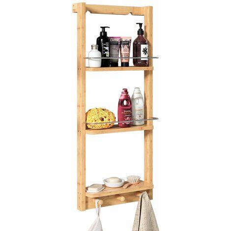 Casaria Estantería de ducha de bambú con 3 estantes 3 ganchos 70x28,5x10 cm carga max 15kg mueble interior baño cocina