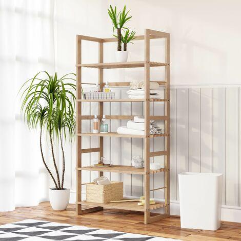 """Casaria Estantería de madera """"Öland"""" con 5 baldas 136x58x27cm capacidad de carga de 10Kg para baño cocina salón zapatos"""