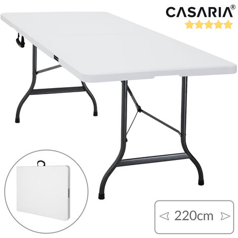 Casaria Folding Trestle Table 220 cm 7ft Large BBQ Dinner Party Catering I Carry Handle I Plastic White I Camping Picnic