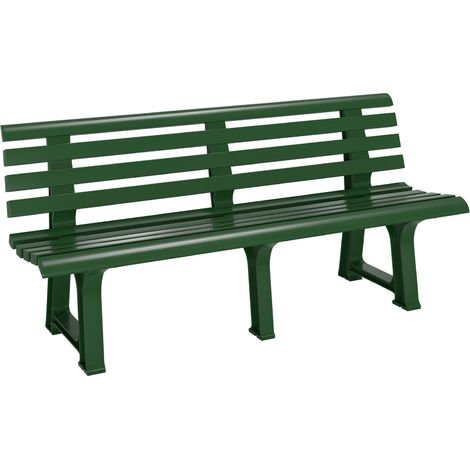 """main image of """"Casaria Garden Bench Orchidea 2 – 3 Seater 145 cm Plastic Patio Benches Outdoor Furniture Grey Green White Lightweight Durable Ergonomic Backrest Terrace Balcony"""""""