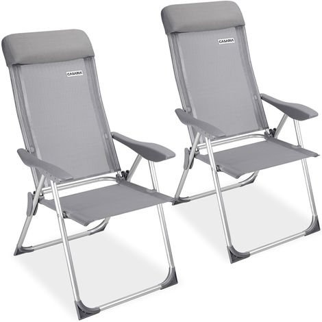 Casaria Garden Chair Set 2x Adjustable Outdoor Patio Balcony Terrace Camping Aluminum Armrests Foldable Grey Festival