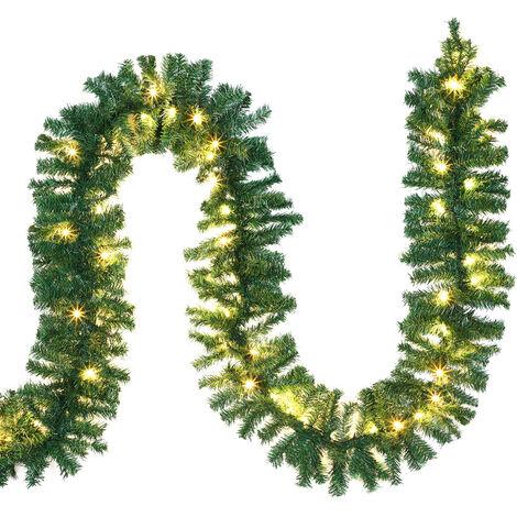 Casaria Guirnalda de Navidad para barandilla puertas ventanas árbol de navidad chimenea 5m 10m 80 100 200 luces LED decoración