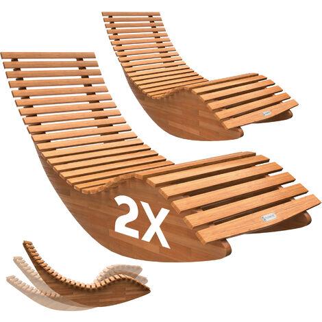 Casaria Juego de 2 Tumbonas mecedora con forma ergonómica de madera de acacia función balancín set para exterior jardín