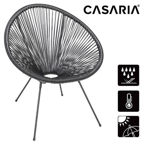 Casaria Lounge Chair »Acapulco« Retro Design Indoor Outdoor Garden Patio Seat Black