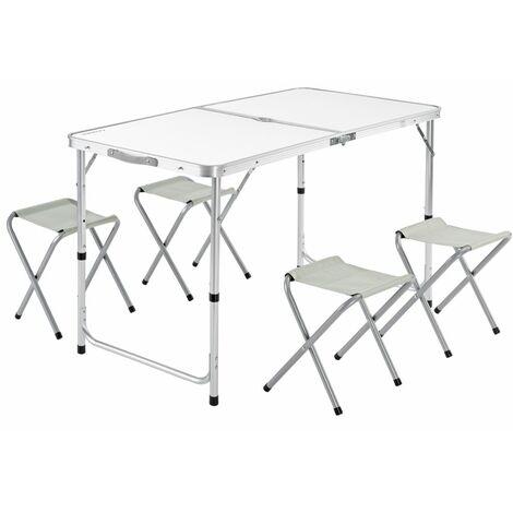 Casaria Mesa de aluminio plegable XXL 4 taburetes plegables función de maleta Camping transporte fácil Gris/Blanco jardín