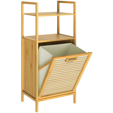 Casaria Mueble de baño 2en1 de Bambú Estantería con cesta para la ropa sucia integrada 40x30x95cm 2x