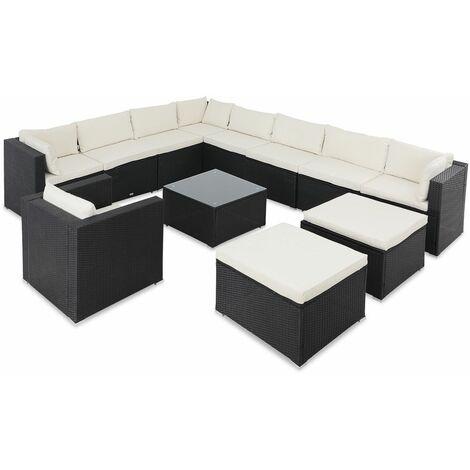 Casaria Muebles de jardín Lounge set de sofá XXXL mesa sillón Negro con cojines color Crema 350x280x70 Poliratán exterior