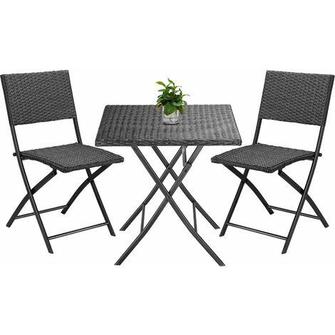Casaria Poly Rattan 3 tlg Balkonset Rom Sitzgruppe Campingtisch klappbar Gartenmöbel Balkon Set schwarz