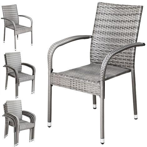 Casaria Poly Rattan 4 Pieces Set Chairs Comfortable Stackable Garden Patio Balcony Furniture Brown