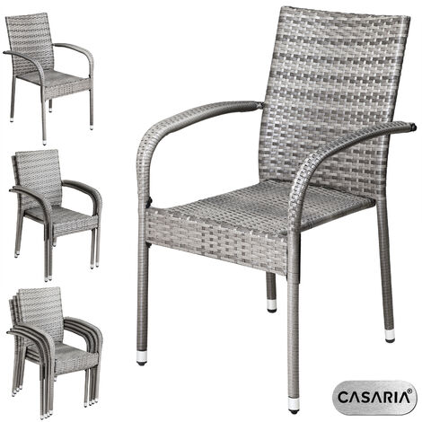 Casaria Poly Rattan 4 Pieces Set Chairs Comfortable Stackable Garden Patio Balcony Furniture Cream