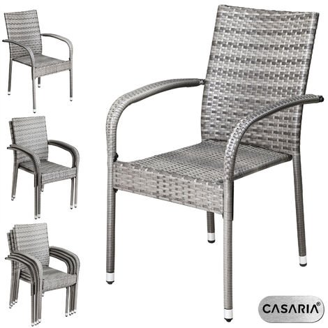 """main image of """"Casaria Poly Rattan 4 Pieces Set Chairs Comfortable Stackable Garden Patio Balcony Furniture Brown"""""""