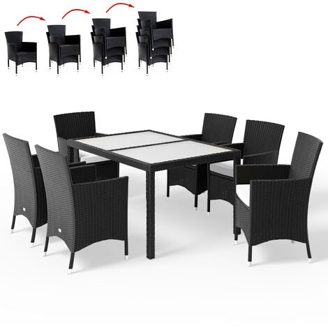 Casaria Poly Rattan Dining Table Chairs Set Mailand 6 Garden Chairs Stackable 7cm Cushions 150x90cm Black Furniture Set
