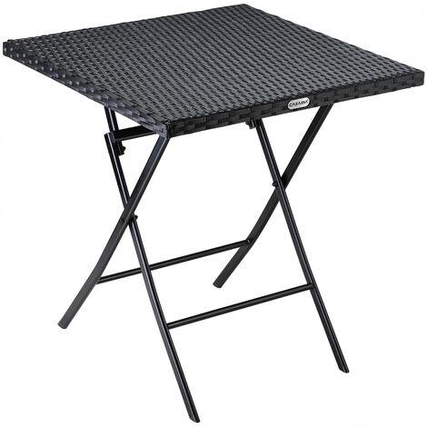 Casaria Poly Rattan Folding Table Patio Balcony Garden 63x63x73cm Foldable Side Table Black
