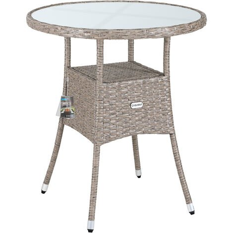 Casaria Poly Rattan Garden Side Table Patio Balcony Ø60cm Round Frosted Glass Outdoor Furniture Grey Beige