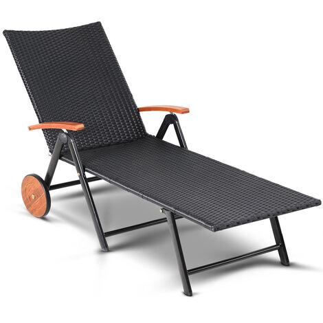 Casaria Poly Rattan Garden Sun Lounger Foldable Aluminium Frame & Wheels Acacia Wood