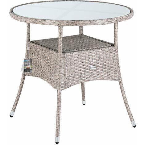 Casaria Poly Rattan Gartentisch Balkontisch Ø 80 cm Rund Milchglas Tischplatte Beistelltisch Gartenmöbel Grau / Beige