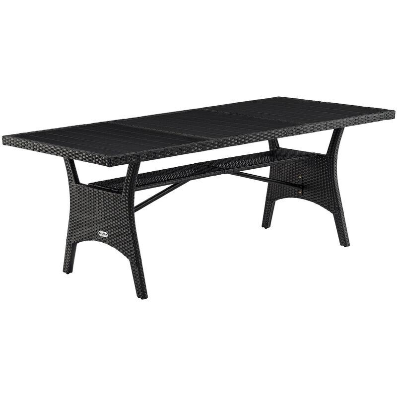 Poly Rattan Gartentisch mit WPC Tischplatte 190x90x75cm Esstisch Terrassentisch Balkontisch Schwarz Grau - Casaria