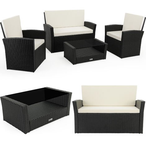 Casaria Poly Rattan Lounge Set 7 cm (2.7 IN) Pads 2 Armchairs Bench Table Sofa Garden Balcony Pation Outdoor Furniture Black Cream