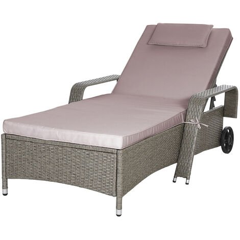 """main image of """"Casaria Poly Rattan Sun Lounger Cushions Adjustable Back Rest Wheels 193x90 cm Beige Grey"""""""