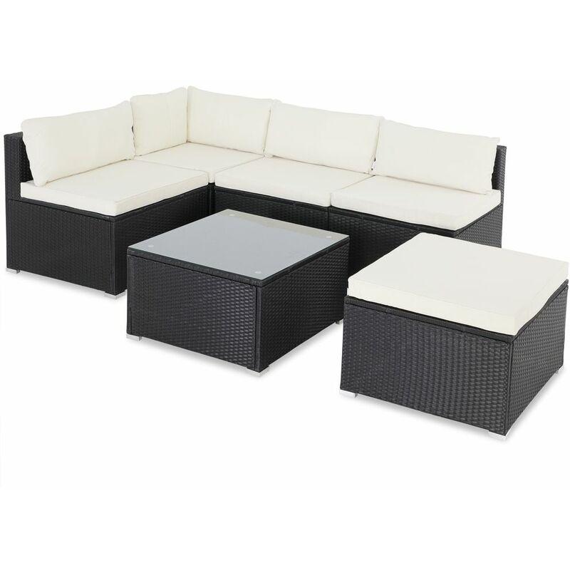 Casaria Poly Rattan XL Lounge Set Auflagen & Kissen Gartenlounge Sitzgruppe Gartenmöbel Set schwarz/creme