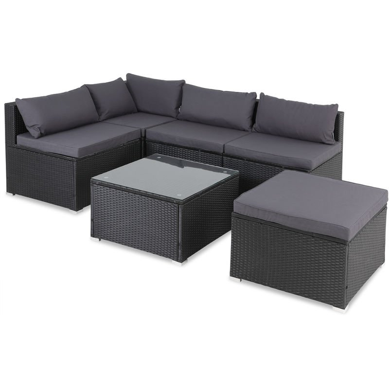 casaria poly rattan xl lounge set with comfortable