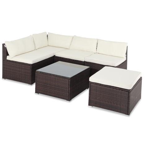 Casaria Poly Rattan XL Lounge Set with comfortable cushions & pillows Patio Garden Furniture Sofa Table Set