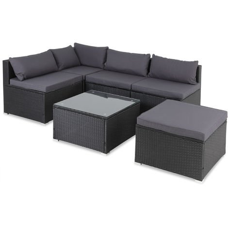 Casaria Poly Rattan XL Lounge Set with comfortable cushions & pillows Patio Garden Furniture Sofa Table Set