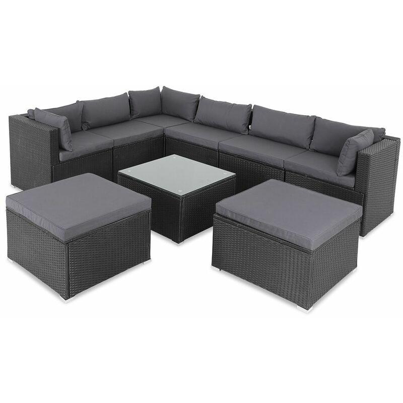 Casaria Poly Rattan XXL Lounge Set mit dicken Auflagen & Kissen + 2 Hocker Sitzgruppe Gartenlounge Gartenmöbel Set schwarz/anthrazit